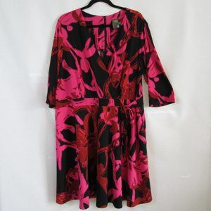 Just Taylor Pink Black Red Floral Faux Wrap Dress